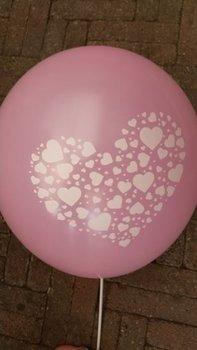 10 stuks Roze ballon met witte hartjes in groot hart in groot hart 30 cm hoge kwaliteit