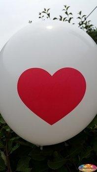 25 stuks Witte ballon met rood hart 30 cm hoge kwaliteit