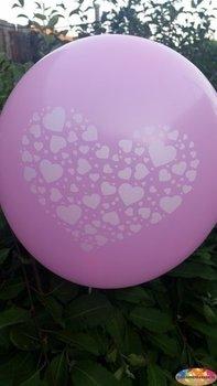 10 stuks Paarse ballon met witte hartjes in groot hart in groot hart 30 cm hoge kwaliteit