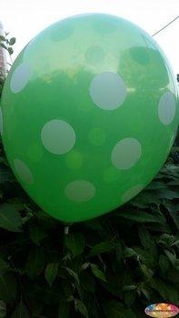 25 stuks Groene ballon met witte stippen 30 cm hoge kwaliteit