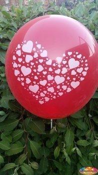 10 stuks Rode ballon met witte hartjes in groot hart 30 cm hoge kwaliteit
