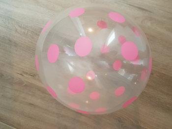 10 stuks transparante ballon met licht roze stippen  30 cm hoge kwaliteit