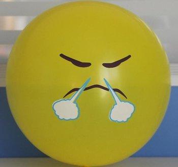 10 stuks ballon smiley  30 cm geel stoom