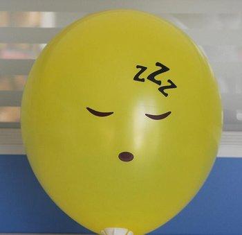 10 stuks ballon smiley  30 cm geel slapen