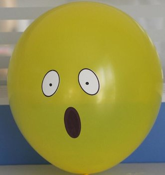 10 stuks ballon smiley  30 cm geel verbaast