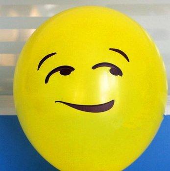 25 stuks ballon smiley  30 cm geel blik