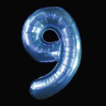 Cijferballon - blauw - 97 cm nummer 9 professionele kwaliteit