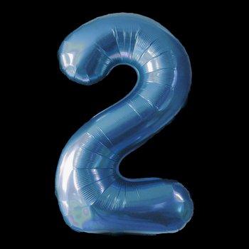 Cijferballon - blauw - 97 cm nummer 2 professionele kwaliteit