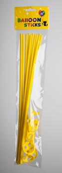 Ballon stokjes 10 stuks geel