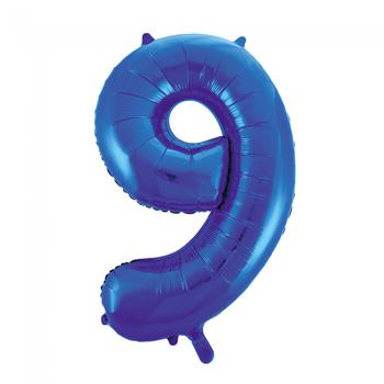 Cijferballon blauw 86 cm nummer 9 professionele kwaliteit