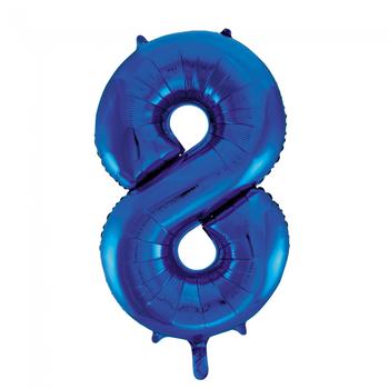 Cijferballon blauw 86 cm nummer 8 professionele kwaliteit