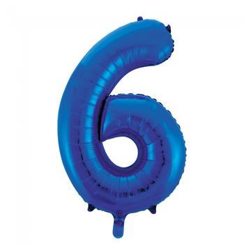 Cijferballon blauw 86 cm nummer 6 professionele kwaliteit
