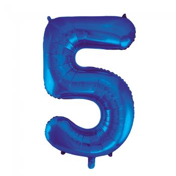 Cijferballon blauw 86 cm nummer 5 professionele kwaliteit