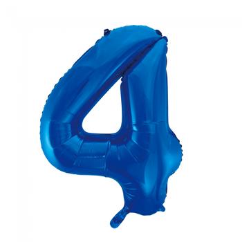 Cijferballon blauw 86 cm nummer 4 professionele kwaliteit