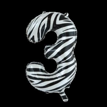 Folie ballon cijfer 3 met zebra print 86 cm
