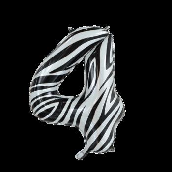 Folie ballon cijfer 4 met zebra print 86 cm