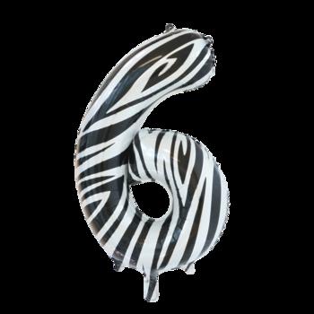 Folie ballon cijfer 6 met zebra print 86 cm