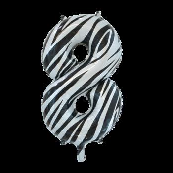 Folie ballon cijfer 8 met zebra print 86 cm