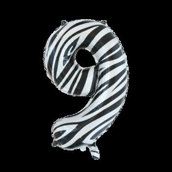 Folie ballon cijfer 9 met zebra print 86 cm