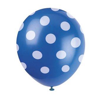 10 stuks blauwe ballon met witte stippen 30 cm hoge kwaliteit