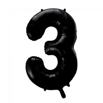 Folie ballon cijfer 3 in het zwart  86 cm