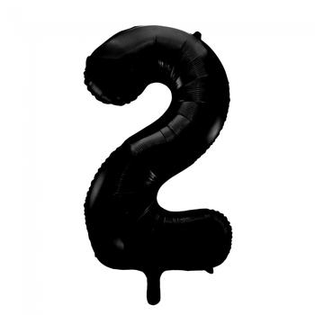 Folie ballon cijfer 2 in het zwart  86 cm