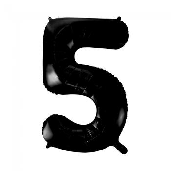 Folie ballon cijfer 5 in het zwart  86 cm