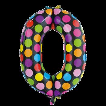 Folie ballon cijfer 0 in het zwart met gekleurde stippen 86 cm