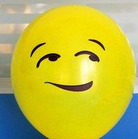 ballon smiley  30 cm geel blik