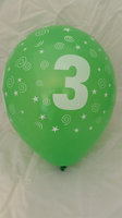 10 stuks latex ballonnen cijfer 3 gemengde kleuren 30 cm hoge kwaliteit