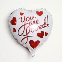 45 cm witte hartvormige folie ballon YOU ARE LOVED van hoge kwaliteit