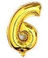 100 cm grote XL folie ballon van hoge kwaliteit nummer 6 goud