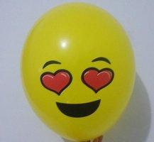 ballon smiley  30 cm geel hart ogen