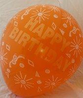 Grote oranje ballonnen 65 cm happy birthday