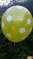Gele ballon met witte stippen 30 cm hoge kwaliteit MET LOS LEDLAMPJE VOOR IN BALLON