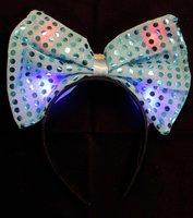 Blauwe diadeem - haarband met strik en ledlampjes OP=OP-AANBIEDING
