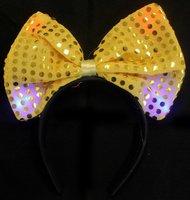 Gele diadeem - haarband met strik en ledlampjes OP=OP-AANBIEDING
