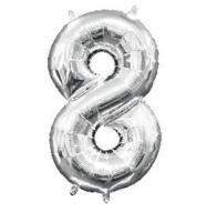 cijferballon - 40 cm - zilver - ballon - cijfer 8
