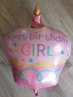 Grote roze first birthday girl ballon babyshower voor eerste verjaardag meisje 68 cm