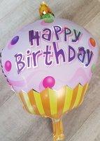 Grote ballon happy birthday met kaars 38 cm