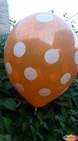 25 stuks Oranje ballon met witte stippen  30 cm hoge kwaliteit