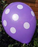25 stuks Paarse ballon met witte stippen 30 cm hoge kwaliteit