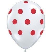 25 stuks witte ballon met rode stippen 30 cm hoge kwaliteit