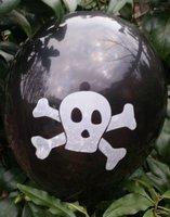 10 stuks Zwarte ballon met wit doodshoofd 30 cm hoge kwaliteit