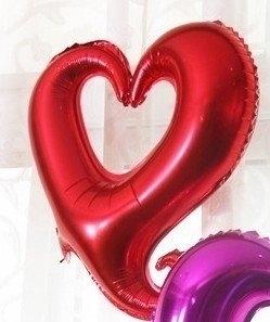 45 cm rode open hartvormige folie ballon van hoge kwaliteit