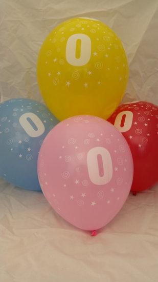 ballonnen- 10 stuks - latex - cijfer 0- gemengde kleuren - 30 cm - hoge kwaliteit