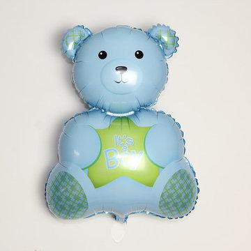 Grote XL blauwe beer ballon its a boy voor geboorte jongen 61 cm