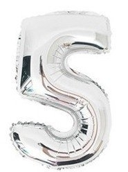 100 cm grote XL folie ballon van hoge kwaliteit nummer 5 zilver
