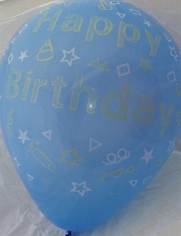 Grote blauwe ballonnen 65 cm happy birthday