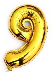 ballon - 40 cm - goud - cijferballon - cijfer 9
